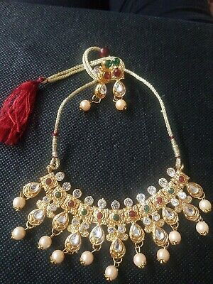 Indian Costume Jewellery - Unique Designed Choker Set With Hanging Pearl • 3.99£