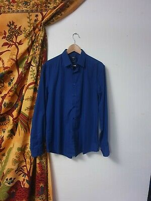 Mens Blue Shirt Large F&F Excellent Condition Tailored Fit 16 • 8£