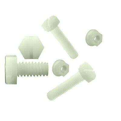 £3.99 • Buy 10 X Metric Nylon Plastic Bolts And Nuts M8 X 20mm Plus Flange Nuts Natural