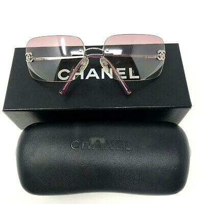 £399 • Buy CHANEL Pink Tinted Silver Crystal CC Rimless Sunglasses Coveted + Box + Case Y2K