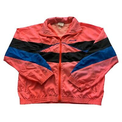 $ CDN50.86 • Buy VTG 80s Adidas Trefoil Pink Color Block Silver Tag Windbreaker Jacket Mens Large
