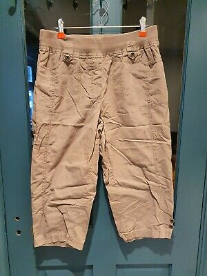 Light Brown Khaki Under Bump Cropped Maternity Trousers Size 14 • 1£