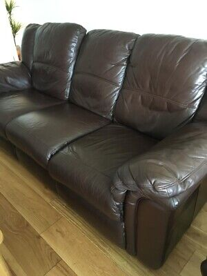 100% Genuine Leather 3 Piece Suite - Brown • 10£