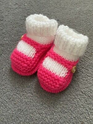 New - Hand Knitted Baby Bootees - Sock And Shoe Style -  Bright Pink- 0-3 Months • 3.50£