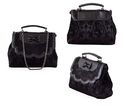 £31.99 • Buy Gothic Floral Lace Bow Chain Flocked Cameo Skeleton Lady Shoulder Bag Punk Emo