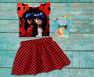 Lady Bug Red Polka Dot Birthday Outfit Set For Girls Skirt Shirt 2 Piece Dress • 18.08£
