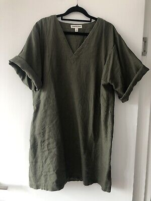 AU29 • Buy Country Road Olive Green Linen Dress. Sz 10