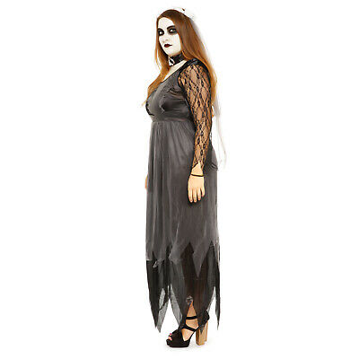 Adult Girls Ladies Black Zombie Corpse Bride Halloween Fancy Dress Costume • 24.04£