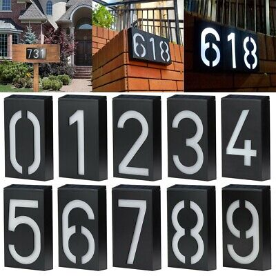 Solar Led Illuminated House Door Number Light Wall Plaque Modern Number 0-8 • 11.99£