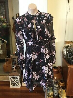 AU38.50 • Buy FOREVER NEW Party/cocktail Dress Open Front Back Black Pink Floral Size 10
