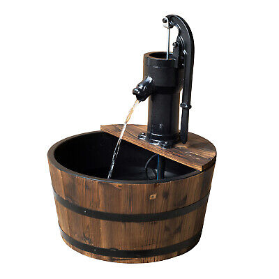 £58.99 • Buy Outsunny Barrel Water Fountain Garden Decorative Water Feature W/ Electric Pump