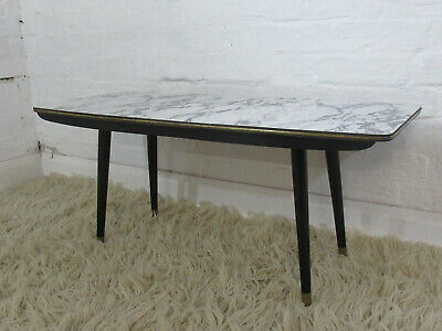 £65 • Buy Retro 1950s/1960s Black, Grey & White Marble Effect Formica Topped Coffee Table