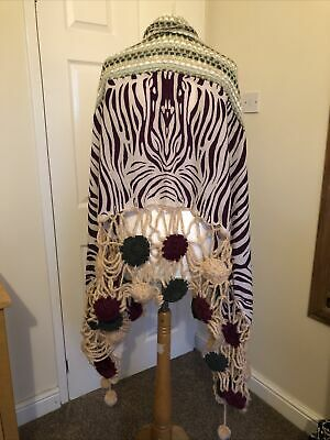 """UNUSUAL CROCHET WOOL AND FABRIC OPEN WEAVE KNIT STOLE SCARF SHAWL 82""""x 38"""" NEW • 9.90£"""
