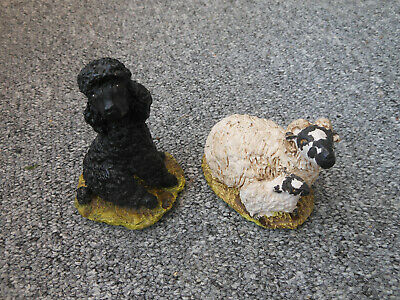 Two Stef Resin Figures - Black Poodle Dog And Sheep With Lamb  • 14.99£