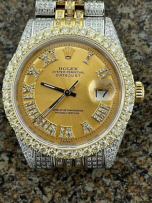$ CDN17672.19 • Buy Rolex DateJust Two Tone Iced Out Approx 10ctw  Ref 1601
