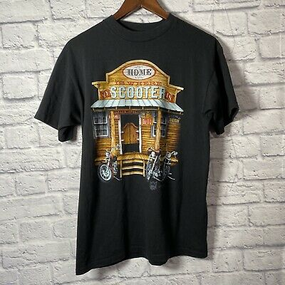 $ CDN157.79 • Buy Vintage 3D Emblem Home Is Where My Scooter Is T Shirt Size L Single Stitched