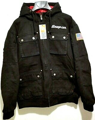 $ CDN121 • Buy NEW Snap On Tools Mens Black Winter Coat Hooded Jacket Gray/Silver Embroidered