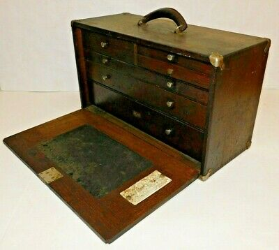 """$299 • Buy Antique National Tool 6-drawer Machinist's Tool Box Wooden Panel 20""""W Dayton OH"""