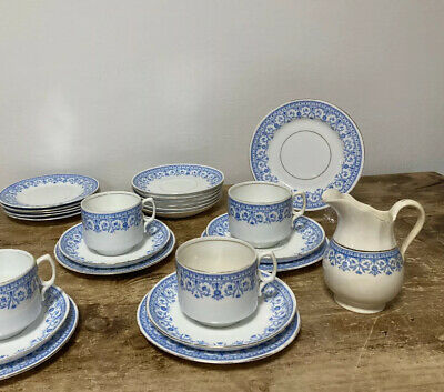 Antique Blue White Aynsley Rd No 36343 Part Tea Set Cups Saucers Side Plates • 15£