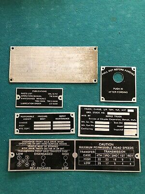 $70 • Buy Original And New Dodge M37 Tag Data Plate Set G741 Fording Military Willys Army
