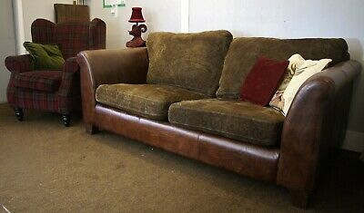 £800 • Buy Quality Super Rare Halo  Hastings  Plaid/check Leather Mix Large Sofa & Chair