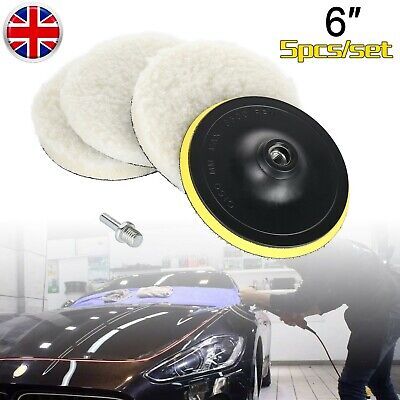 5Pcs 6  Universal Car Buffing Polishing Pads Wool Wheel Mop & Drill Adapter • 8.99£