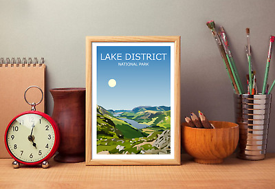 Lake District Art Print, National Park Landscape, Cumbria The Lakes Wild Hiking • 19.99£