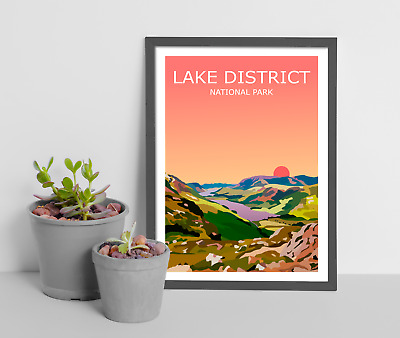Lake District Sunset Art Print, National Park Landscape,Cumbria The Lakes Hiking • 9.99£