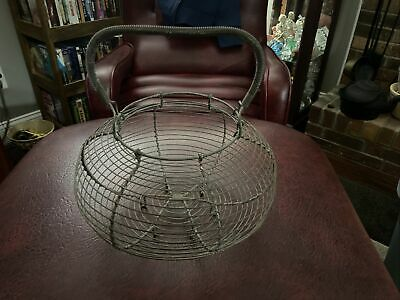 $ CDN31.70 • Buy Large Rustic Antique Vintage French Farmhouse Wire Egg Basket