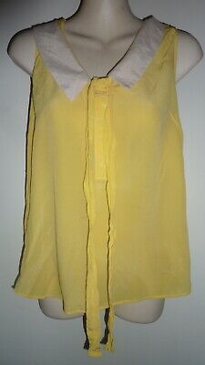 AU15 • Buy MASSIMO DUTTI 100% Silk Cute Yellow Top Size S / 10