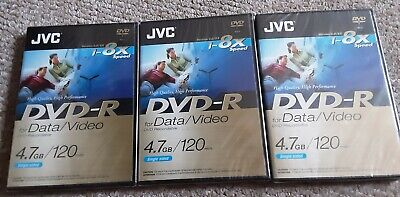 £7.99 • Buy New/sealed 3 X DVD-R Discs - JVC 4.7GB/120 Minute- DVD Recordable