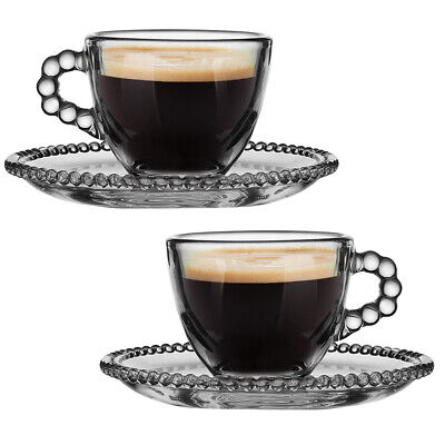 £14.99 • Buy Set Of Coffee Glass Espresso Mug 50ml Shot Cups With Beaded Finish Saucers