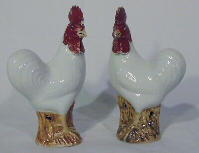 $ CDN1205.27 • Buy Pr 19th Early 20th C Chinese Porcelain White Roosters Chicken Cockerel Figurines