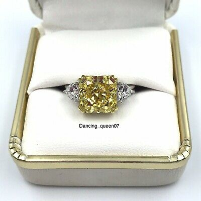 Canary Yellow Square Princess Cut Diamond Moissanite Engagement Ring Silver 925 • 98£