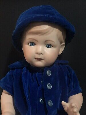 """$ CDN86.62 • Buy Vintage Hand Painted Reproduction Porcelain Character Boy Doll 19"""" Molded Hair"""