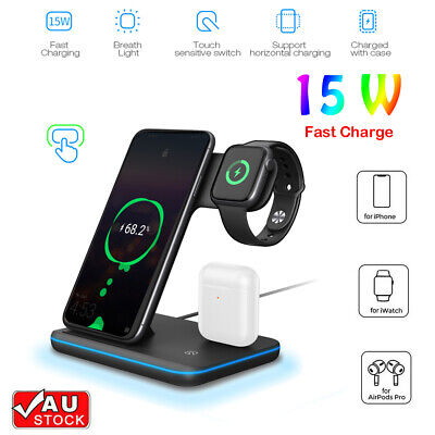 AU35.99 • Buy 3 In 1 Qi Wireless Charger Charging Dock Stand Station For IPhone Watch 2021 AU