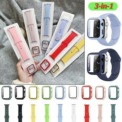 $ CDN8.10 • Buy Silicone Strap Band+Glass+Case Set For Apple Watch SE 6 5 4 3 2 1 38 40 42 44 Mm