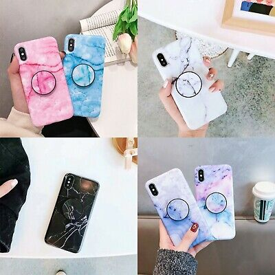 AU9.99 • Buy Marble Soft TPU Case With Holder Phone Cover For IPhone 12 11 XR 7 8 SE2 XS MAX