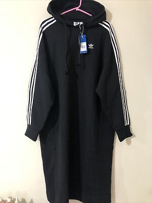 $ CDN173.58 • Buy Adidas Black 3 Stripes Midi Long Hooded Hoodie Dress Oversized Uk 12 14 16 18 XL