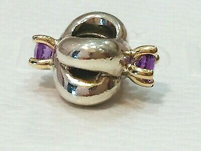 AU139 • Buy Authentic Pandora Silver Gold Two Tone Amethyst Love Knot Charm 790371 Retired