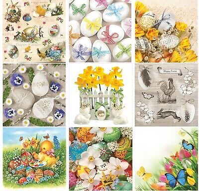 £4.49 • Buy Easter Paper Napkins For Decoupage Craft Serviettes LUXURY 33x33cm 3PLY X 20