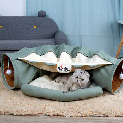 Cat Dog Tunnel Bed With Cushion Tube Toys Soft Fabric Longer Crinkle Collapsible • 31.50£