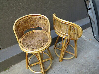 AU180 • Buy 2 Vintage Cane Wicker Bar Kitchen Chairs Stools Swirling  Bentwood Rattan