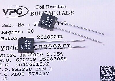 0.01/% Tolerance Vishay 200k Ohm High Precision Foil Resistor with Leads