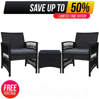 AU197.39 • Buy 3 Piece Outdoor Wicker Furniture Bistro Set Patio Dining Chairs Setting Black