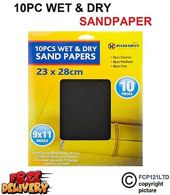£2.89 • Buy 10 Sheets Wet And Dry Assorted Grit Sandpaper Fine Medium Coarse Sand Paper