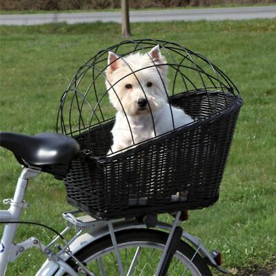 £48.99 • Buy Rear-Mounted Black Bicycle Basket Rack Cycling Dog Cat Bike Carrier Wicker New