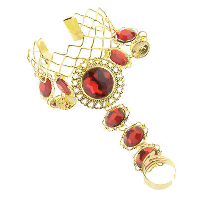 £4.15 • Buy Indian Belly Dance Bracelet With Finger Ring Wrist Bangle Crystal Jewelry