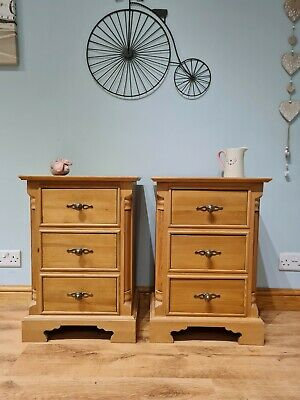 £255 • Buy Pair Of Solid Pine Bedside Tables Cabinets Antique Style Chest Of Drawers