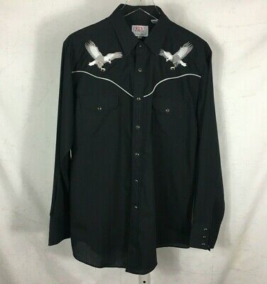 $37.99 • Buy Ely Diamond Mens Pearl Snap Western Rockabilly Shirt Embroidered Eagles Black L